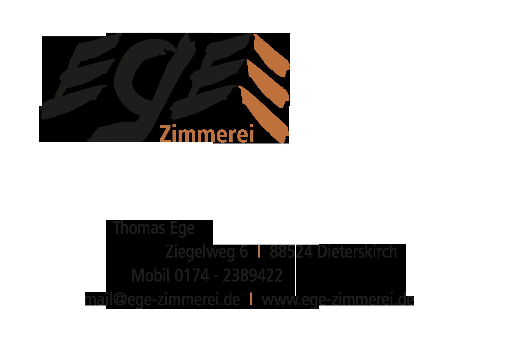 EGE Zimmerei | Thomas Ege | Ziegelweg 6 | 88524 Dieterskirch